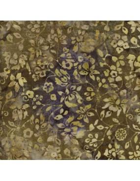 Tissu Batik imprimé Kaki Beige et Violet à Fleurs