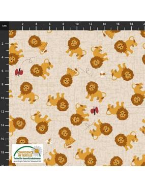Tissu coton Cocos Wildlife à motifs de lions