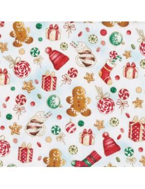 Fat quarter Noël avec dorures à motifs de sucreries, cadeaux et boules de Noël