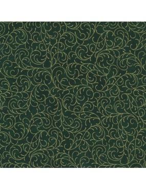 Tissu coton Noël vert à motifs d'arabesques doré