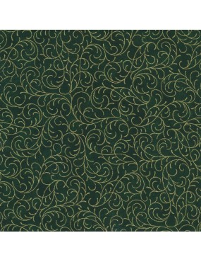 Fat quarter Noël vert à motifs d'arabesques doré