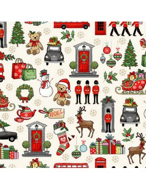 Tissu coton Noël avec dorure Icones anglaises