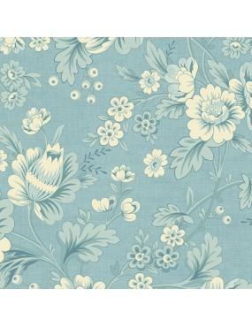 Tissu coton BlueBird d'Edyta Sitar à motifs de Fleurs de dahlia