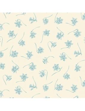 Tissu coton BlueBird d'Edyta Sitar à motifs jonquilles