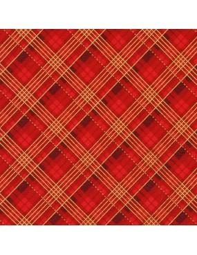 Tissu coton Noël avec dorures à motifs de carreaux