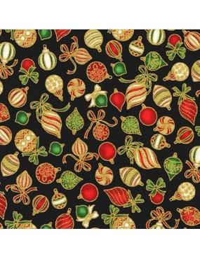Tissu coton Noël avec dorures à motifs de boules