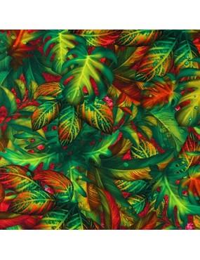 Tissu coton Fantastic Forest à motifs de feuilles